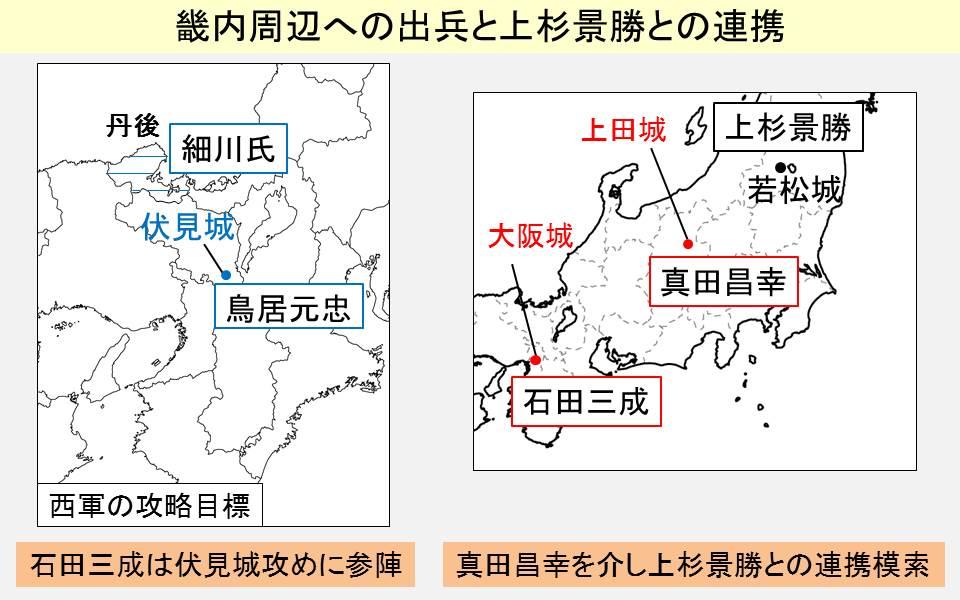 西軍が出兵した畿内の場所と上杉景勝の連携を示す地図