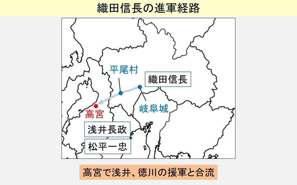 織田信長の進軍経路を示した地図