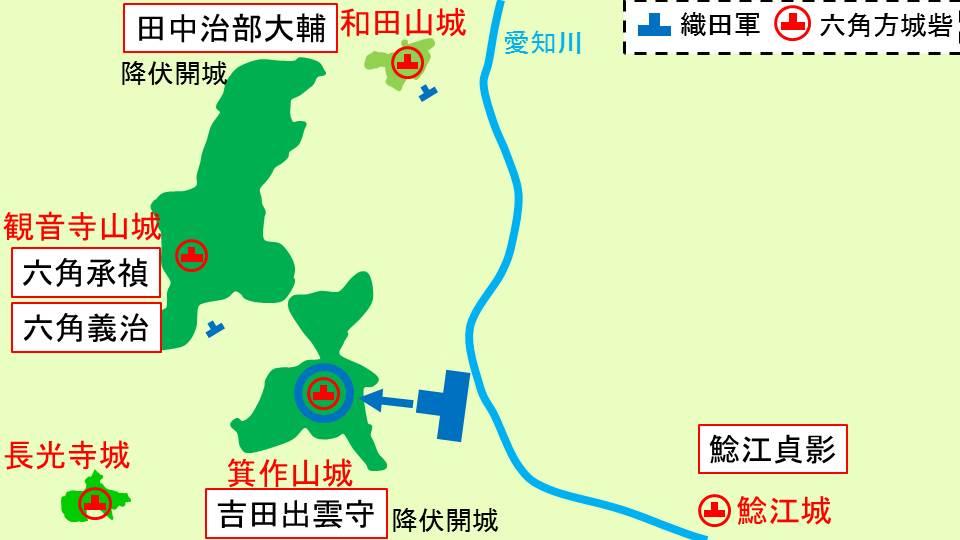 箕作山城を織田軍が包囲することを示す図