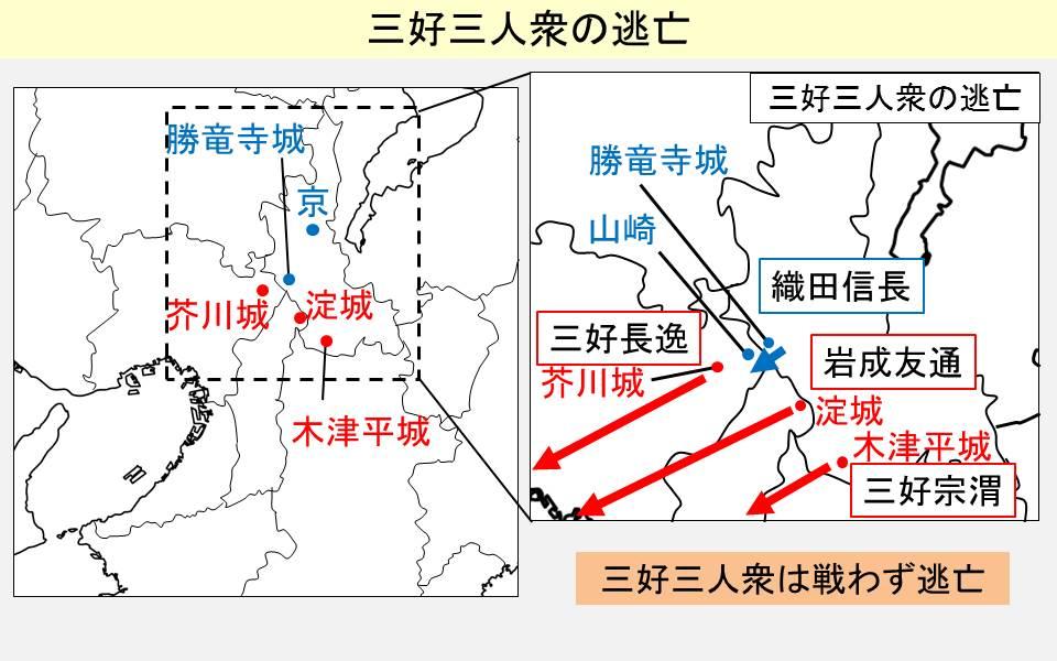 織田信長が芥川城に入った際の三好三人衆逃亡経路を示す図