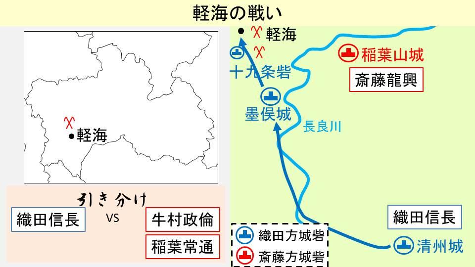 軽海の戦いが起きた場所とその結果を示す図