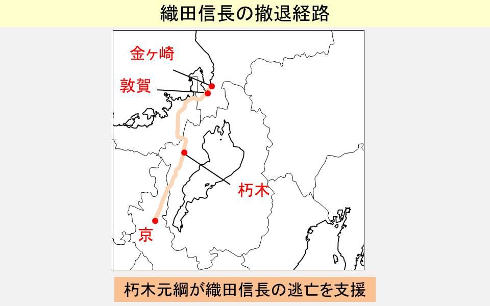 織田信長の撤退経路を示す図