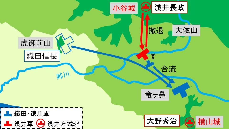 織田信長が小谷城から横山城へ移動する様子を示す図