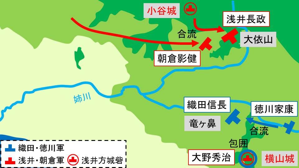 横山城を包囲する織田軍の様子を示す図