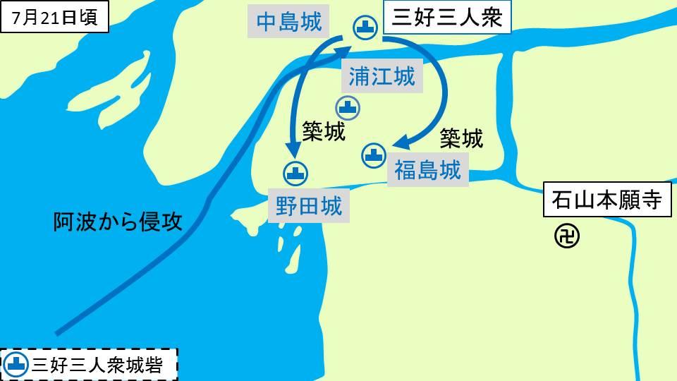 三好三人衆による野田城、福島城の築城を示す図