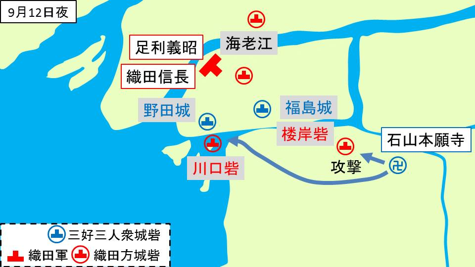 石山本願寺による川口砦、楼岸砦への攻撃を示す図