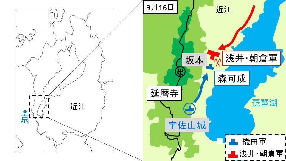 浅井・朝倉軍が近江を南下する様子を示す図