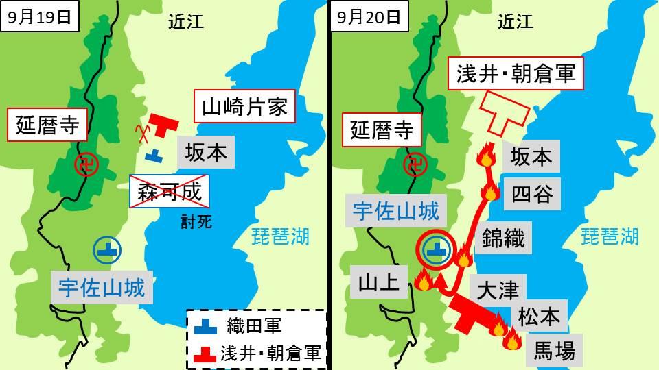浅井・朝倉軍と森良可の争いを示す図