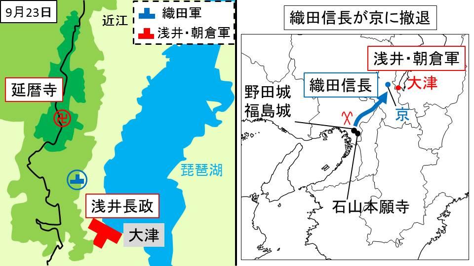 浅井軍の逗留地と織田軍の撤退を示す図