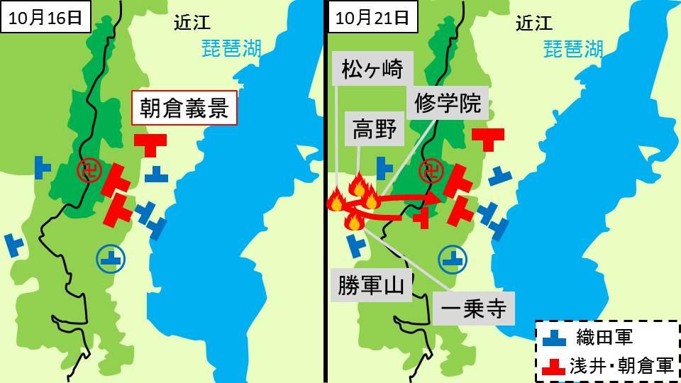 織田軍と朝倉義景の対峙、朝倉軍の各地の襲撃を示す図