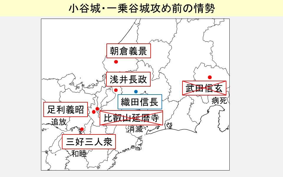 織田信長に敵対する諸勢力の状況を示す図