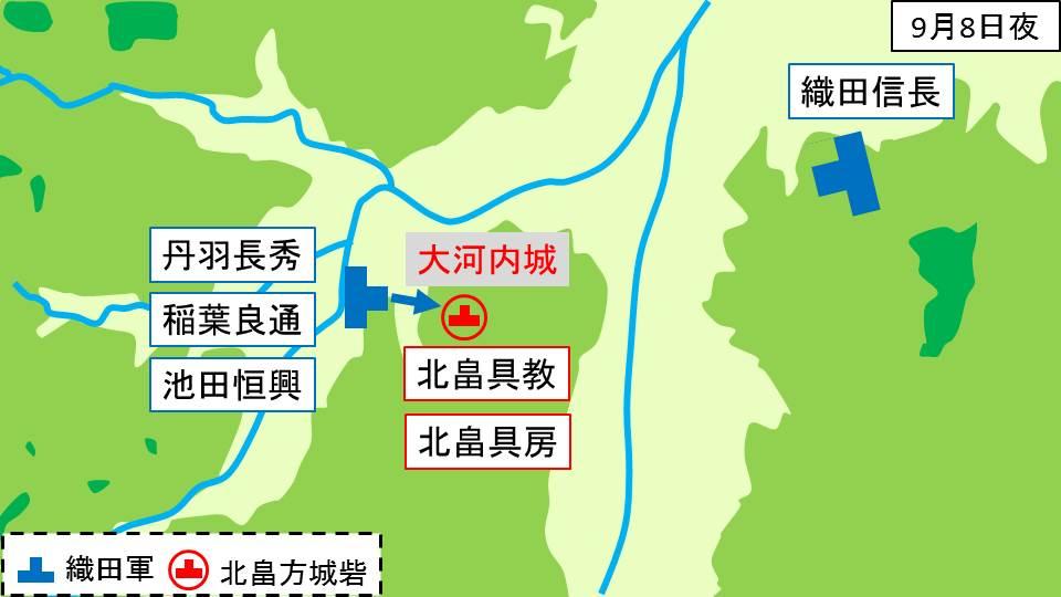 大河内城を西から織田軍が攻めているとこを示した図