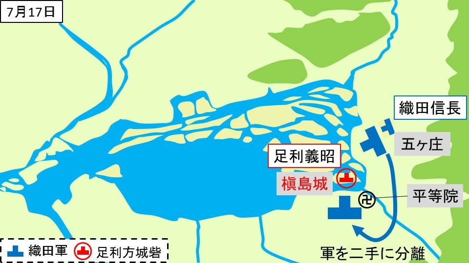 織田信長が五ヶ庄に到着し軍勢を二手に分けたことを示す図