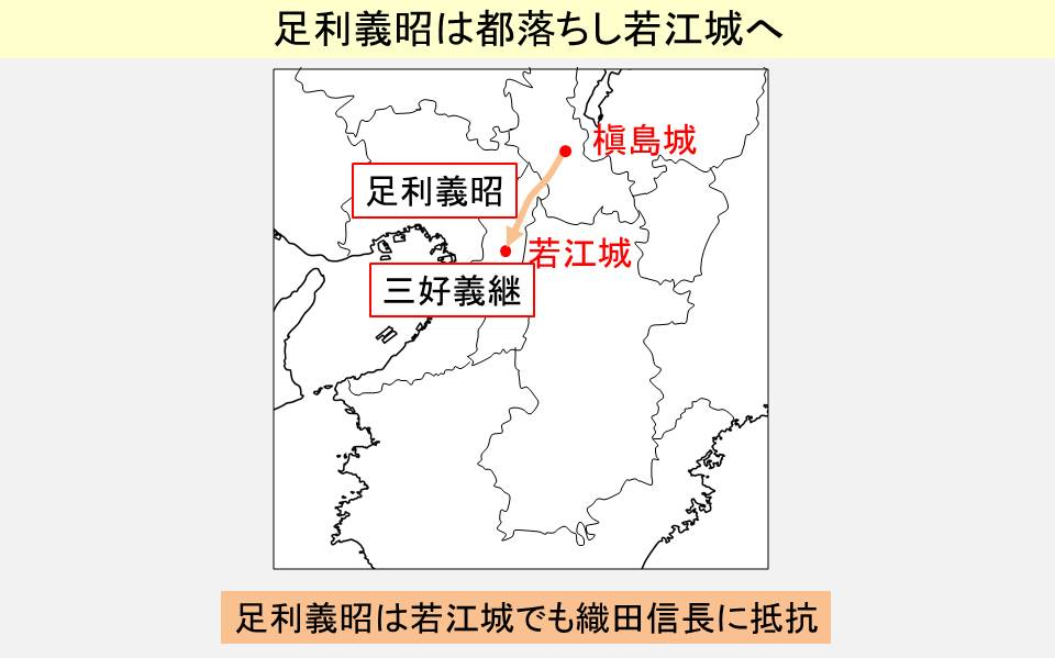 足利義昭が若江城まで逃げ延びた経路を示す図