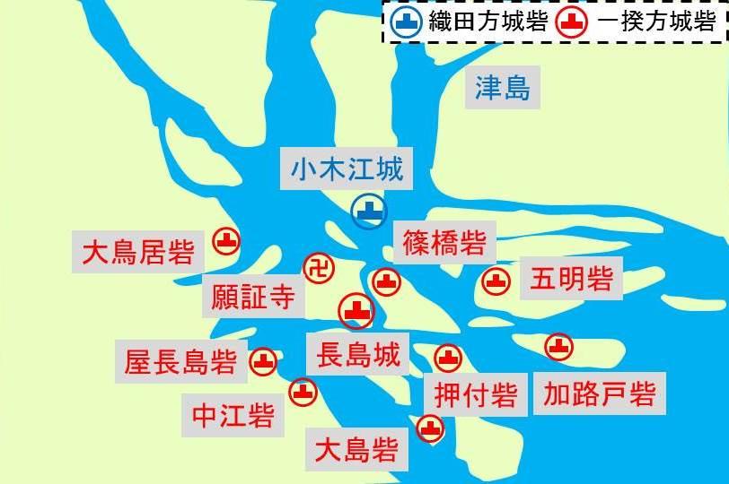戦国時代の長島一帯の地形と城砦の配置を示す図