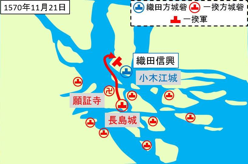 長島一向一揆が小木江城を攻撃していることを示す図