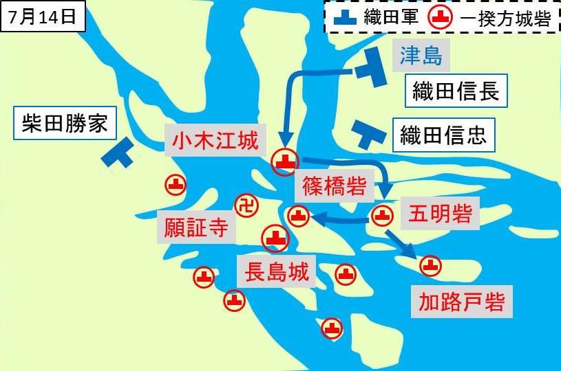 織田信長が率いる本隊の進軍経路を示す図