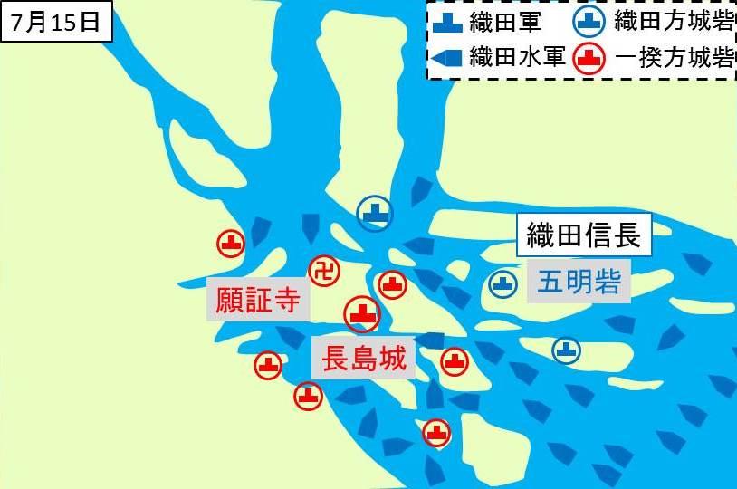長島一帯に織田軍の水軍が到着したことを示す図