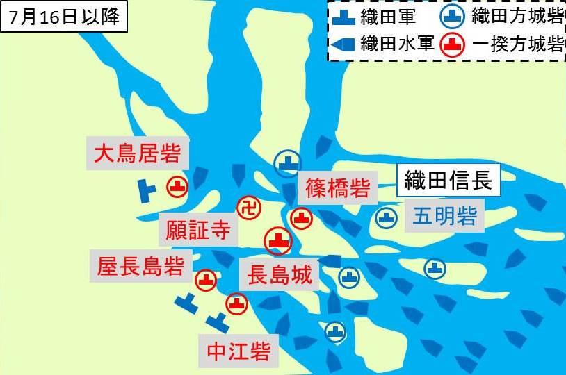一揆勢が5つの砦に追い詰めらたことを示す図