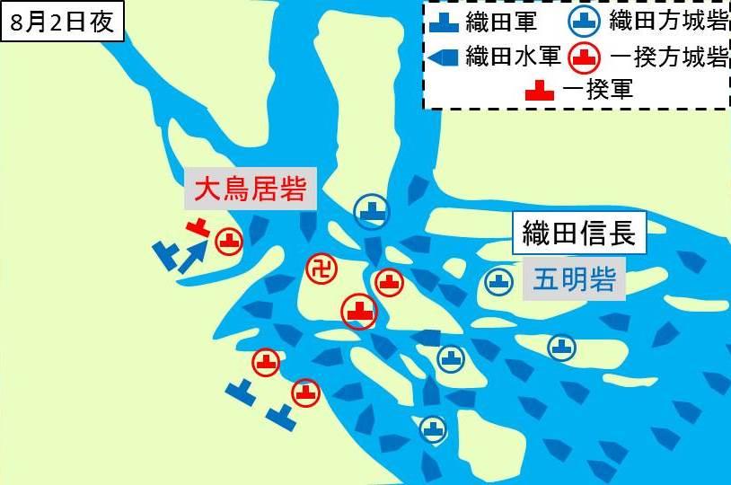 織田軍が大鳥居砦の一揆勢を攻撃していところを示す図