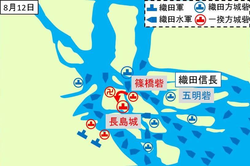篠橋砦の一揆勢が長島砦に逃げている所を示す図