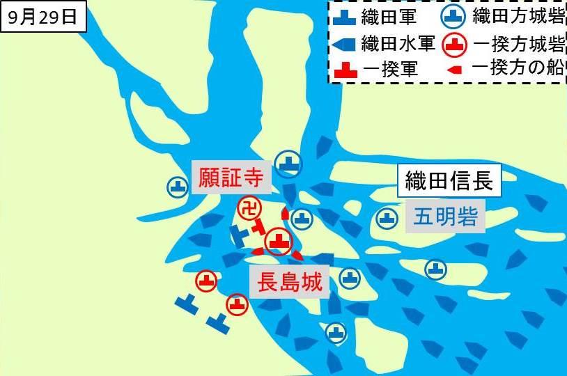 長島砦から出てくる一揆勢を織田軍が攻撃しているところを示す図