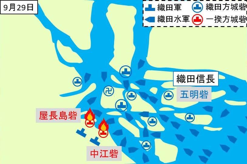 屋長島砦、中江砦が織田軍によって焼かれているとこを示す図