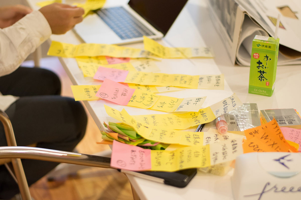 ワークショップで集められた付箋を分析している写真