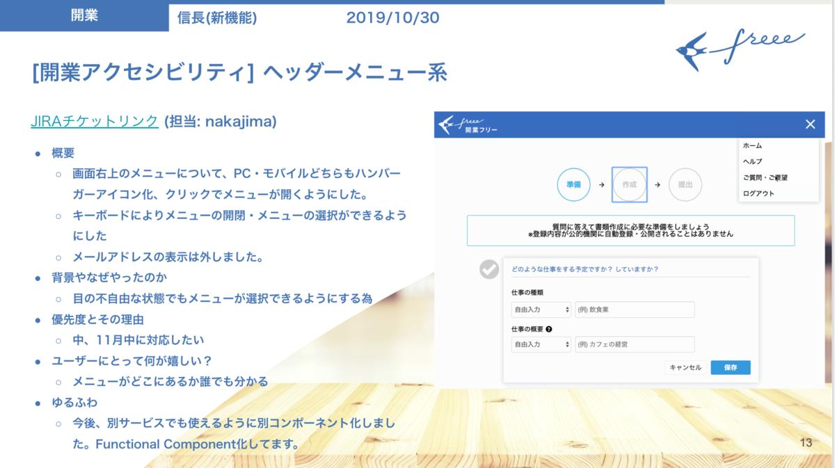 アクセシビリティ向上を社内に伝えるスライド。開業freeeのメニューのキーボード操作を可能にした旨が、スクリーンショットとともに記載されている。