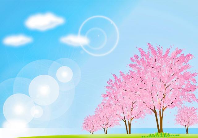 桜と青空の風景