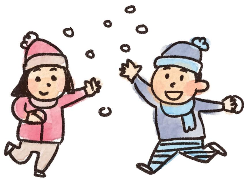 雪合戦をする子供