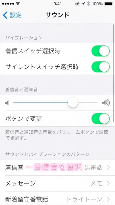iPhoneのサウンド画面