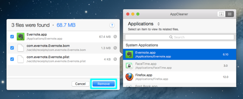 選択したアプリと関連ファイルの削除