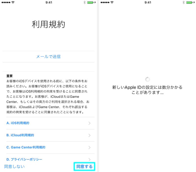 利用規約・Apple ID 設定中