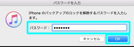 ロック解除するためのパスワード入力