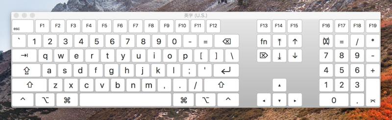 小文字入力時のキーボードビューア上の表示