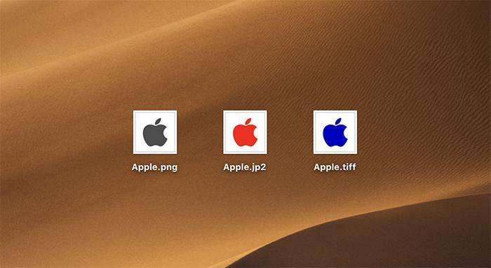 異なるファイル形式の画像