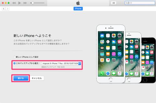 バックアップファイルの選択画面