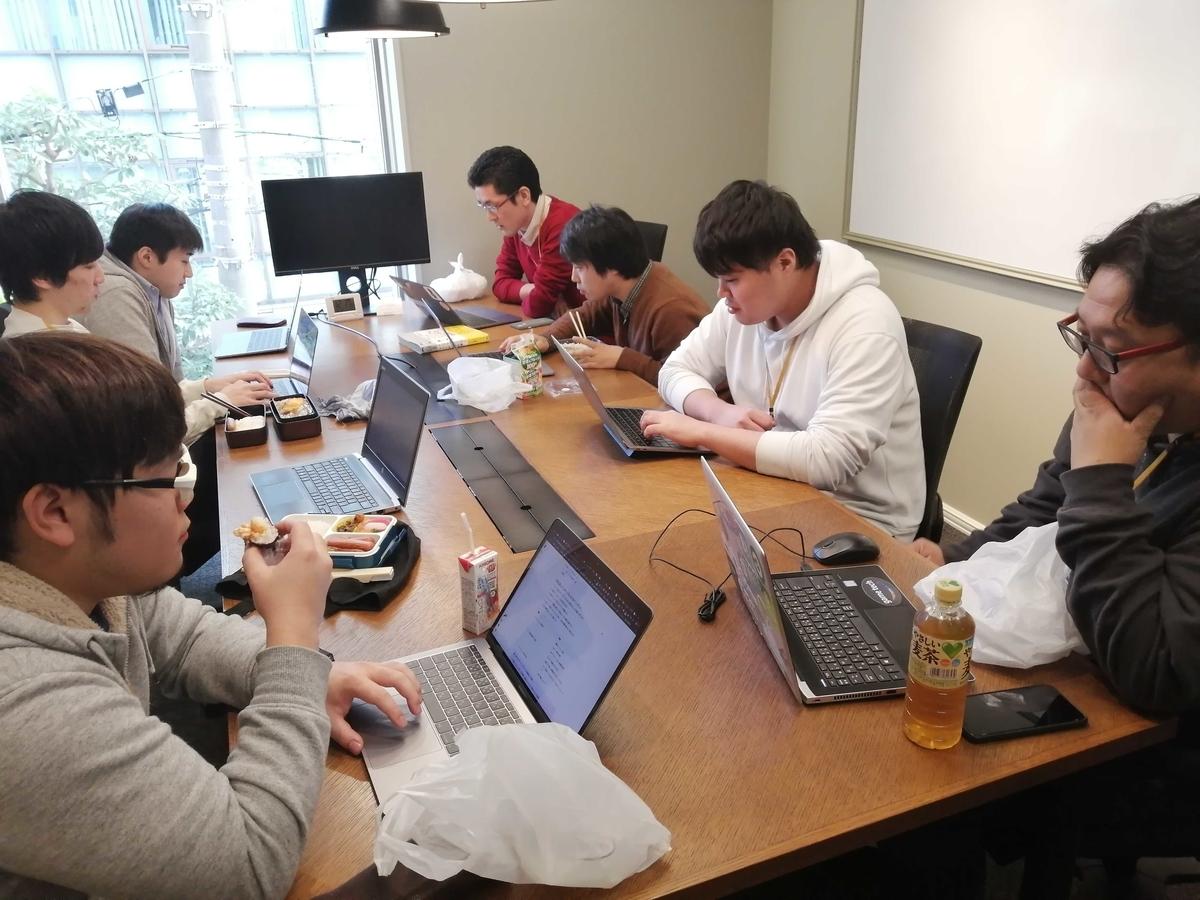 会議室に昼ごはんとPCを持ち寄りテーマについて議論している