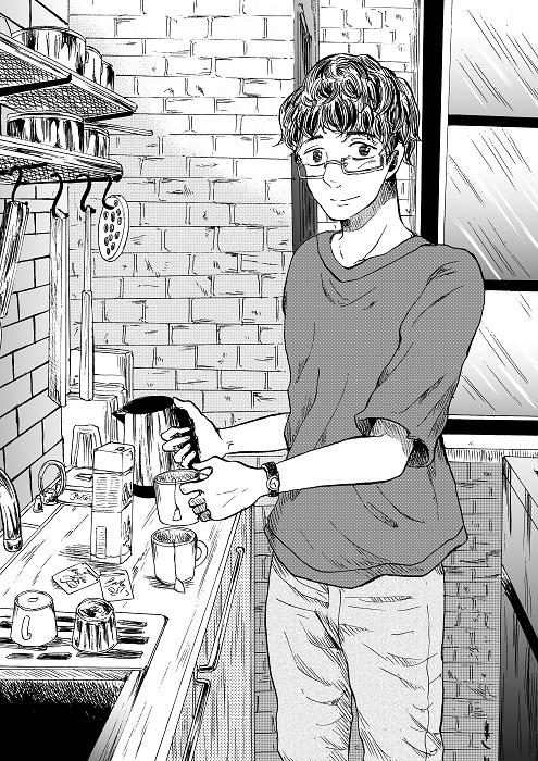 台所で紅茶を淹れるハルのイラスト。