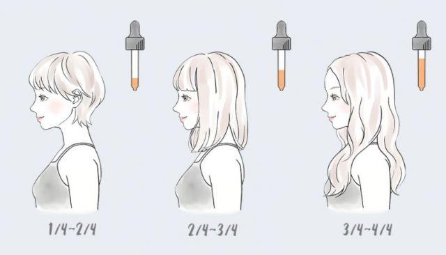 髪の長さに合わせた使用量の目安の図