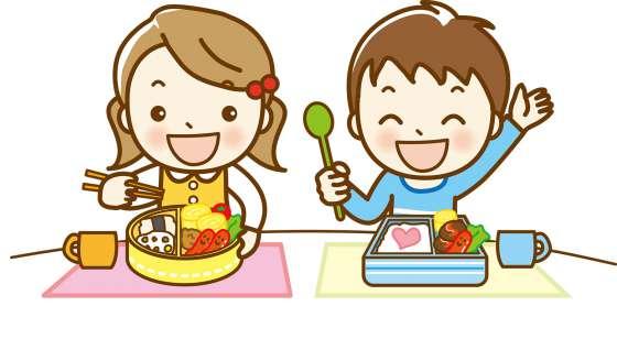 笑顔でお弁当を食べる子どもたちのイラスト