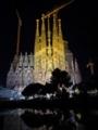 サグラダファミリア 夜景 鏡写し