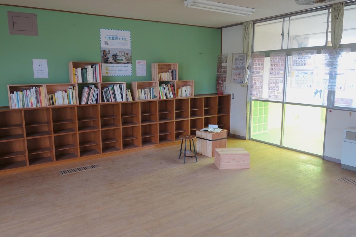 教室のような室内に置かれた栗鼠文庫