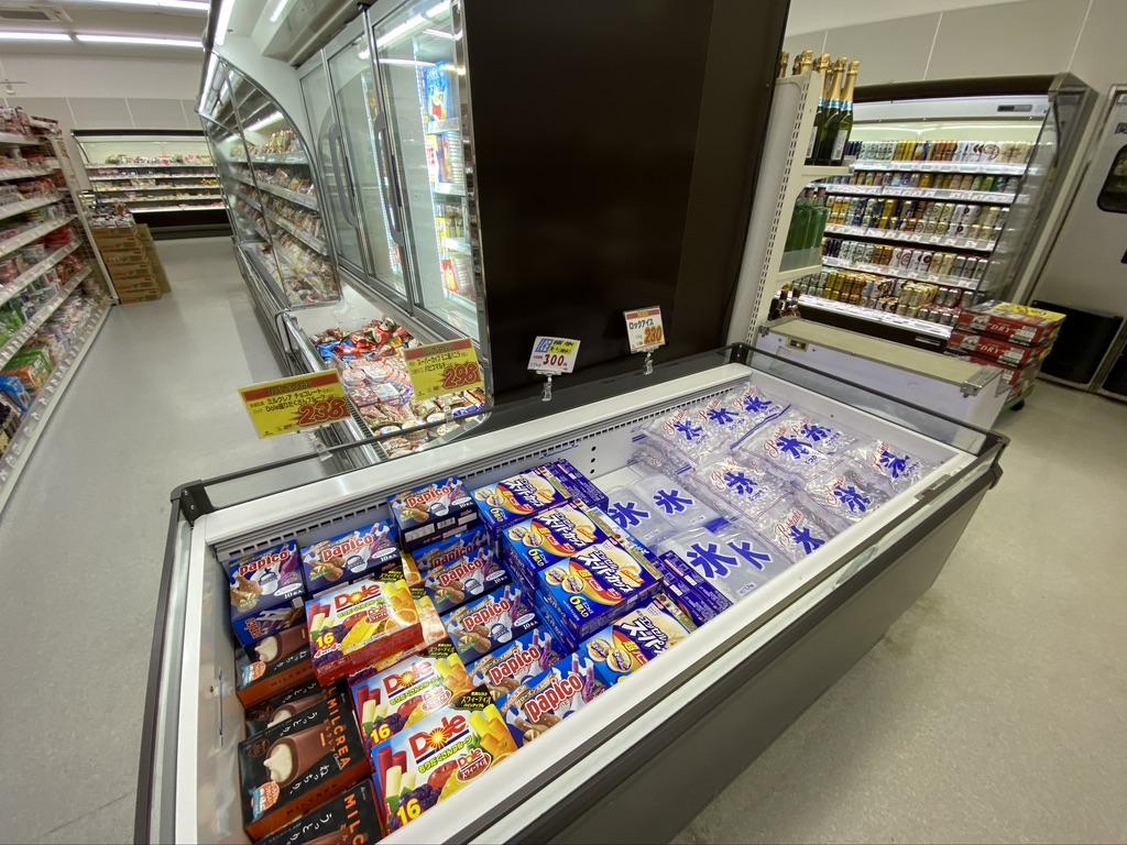 冷凍系や氷のコーナー