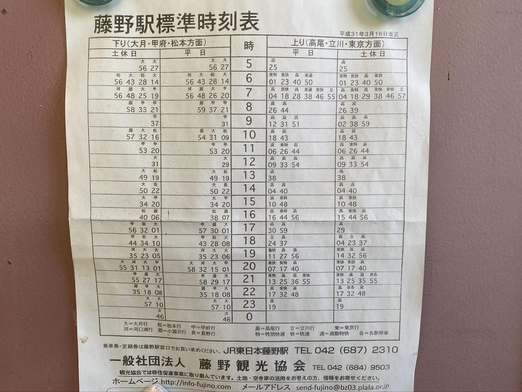 徒歩キャンパーのために時刻表が貼ってある