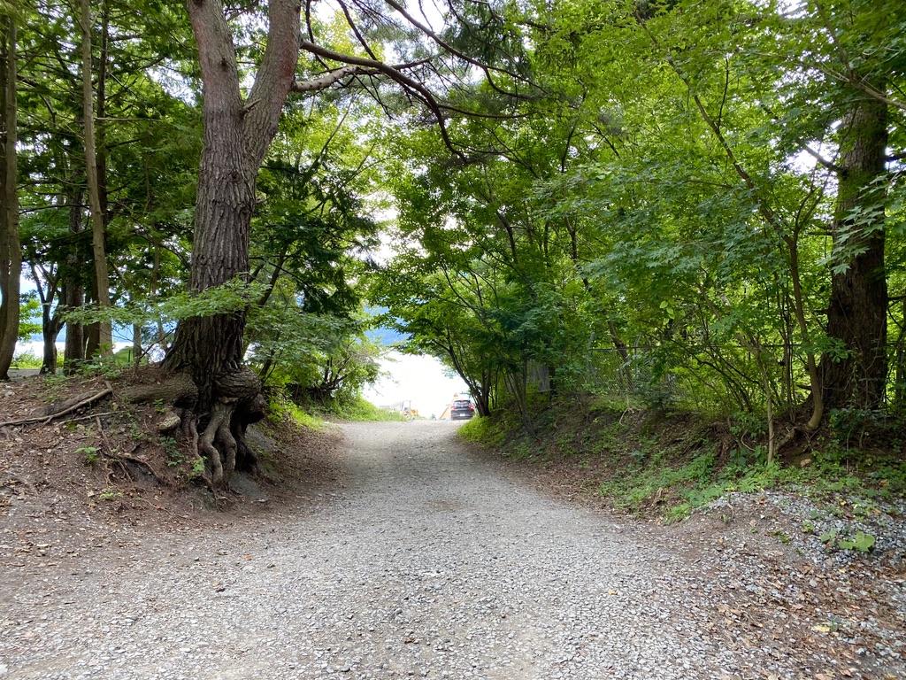 湖畔サイトへと向かう道
