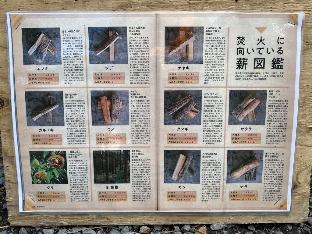 焚火に向いている薪図鑑