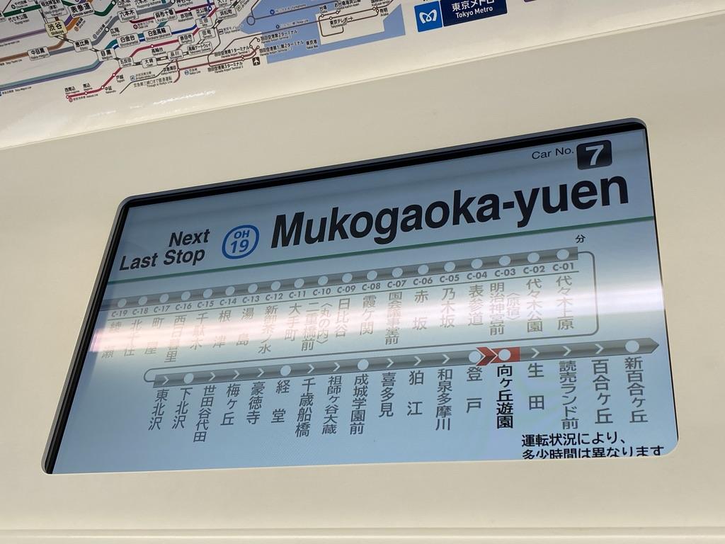 電車内のモニターに表示される小田急線路線図