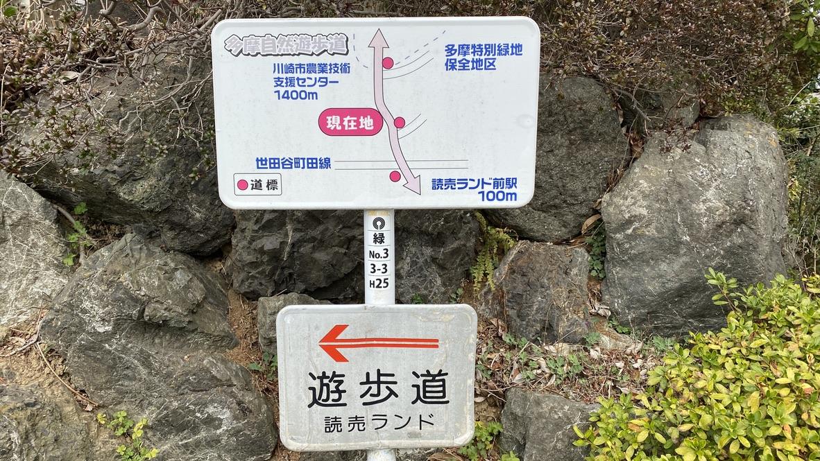 多摩自然遊歩道への道標